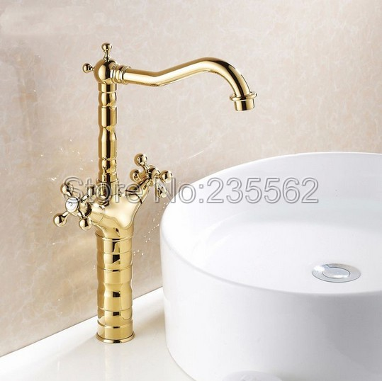 Luxury High Style Dual Handle Swivel Bathroom Basin Faucet Golden Brass Finish Cold and Hot Mixer Kitchen Sink Taps lsf94 bathroom golden dual handle taps washbasin sink faucets hot and cold water mixer faucet