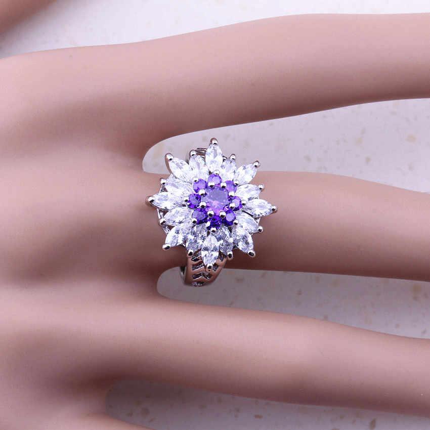 20x8mm Superbe Violet Améthyste Blanc Zircone cubique Cadeau Pour Filles 925 Argent Boucles D/'oreilles Clou
