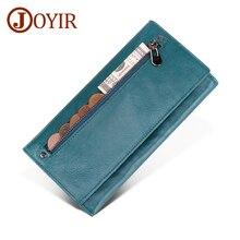 Joyir couro genuíno das mulheres carteira multifuncional rfid carteiras marca bolsas carteira moda feminina titular do cartão carteira saco do telefone