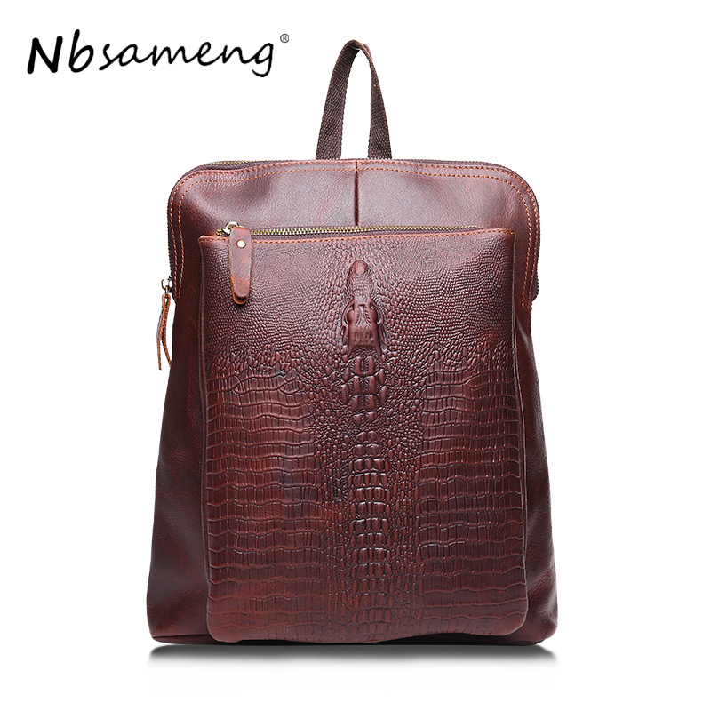 NBSAMENG Genuine Leather Backpacks Women 2017 Vintage Fashion Alligator Cowhide Leather Backpack Travel Crocodile Backbag Male 2016 fashion women s genuine leather backpack backbag hot selling woven genuine leather