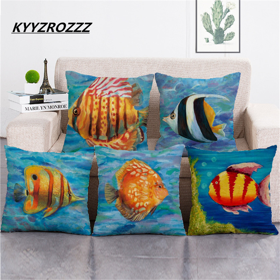 Ocean Fish Oil Paint Cushion Covers Starfish Dolphin Pillow Cases Colorful Marine Life Pillow Covers Bedroom Sofa Decoration