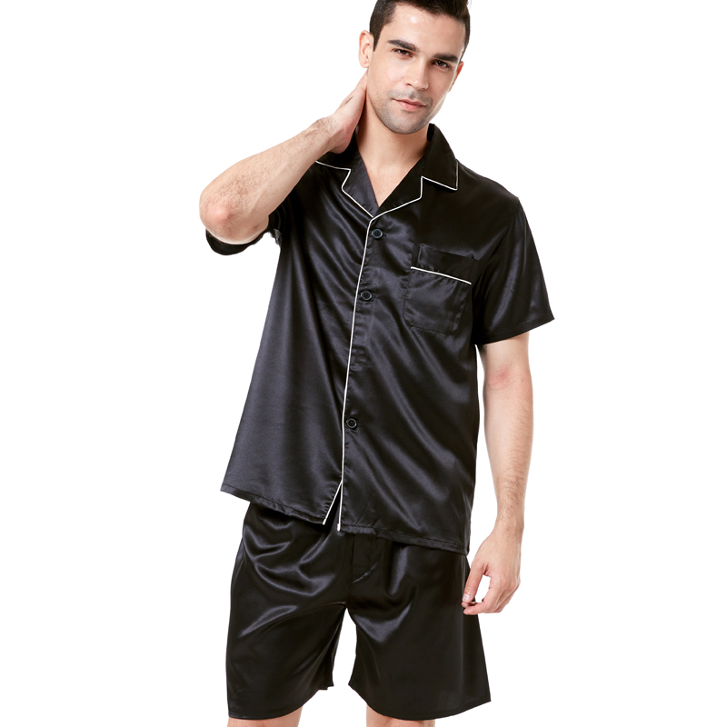 Tony&Candice Satin Silk Pajamas Shorts For Men Rayon Silk Sleepwear Summer Male Pajama Set Soft Nightgown For Men Pyjamas