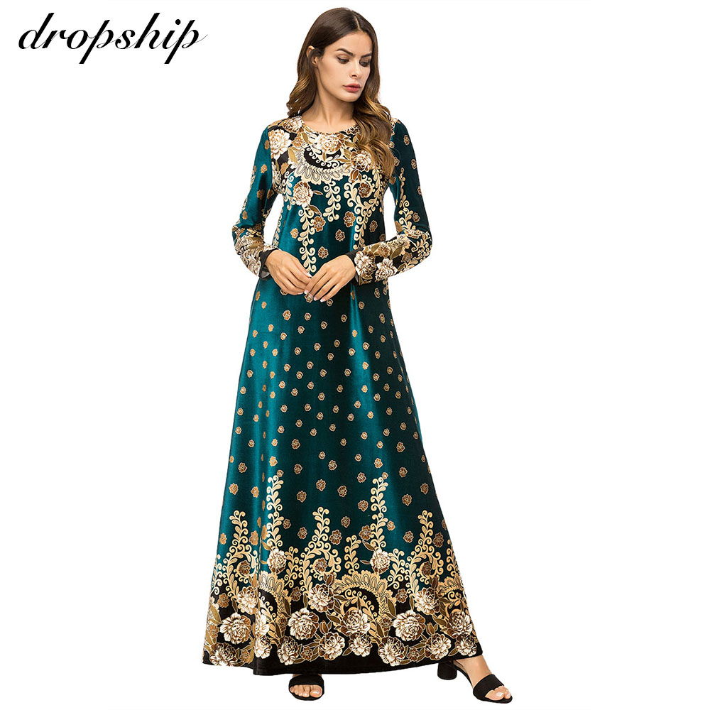 Dropship Autumn Middle East Muslim Women Fashion O-Neck Long Sleeve Loose Embroidery Party Long Maxi Dress Retro Robe Gown