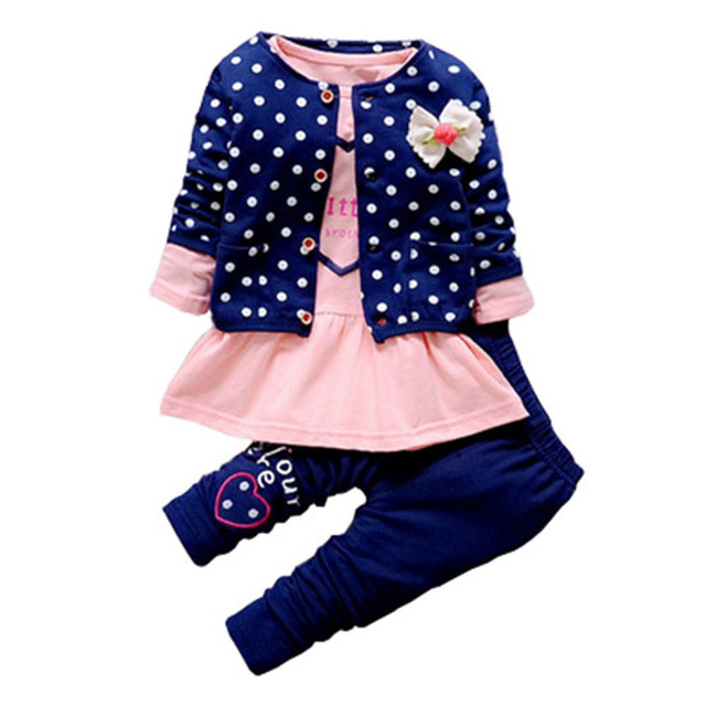 BibiCola Baby Girl clothing Sets kids 3PCS coat+ T shirt + Pants children Cute Princess Heart-shaped Print Bow baby girl outfits