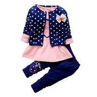 2016 New Baby Girl Cute Princess Clothing Sets Kids 3PCS Coat T Shirt Pants Children Heart