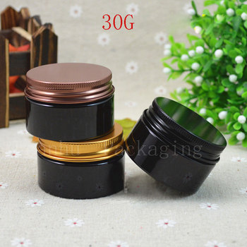 Black Plastic Cosmetics Packaging Cream Jar,30CC Refillable Empty Containers Cosmetics,Homemade Cosmetic Skin Products Container