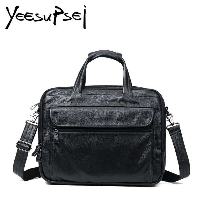 YeeSupSei Business Men Woman Genuine Leather Bag Natural Cowskin Men Messenger Bags Vintage Men's Cowhide Shoulder Crossbody Bag 2016 new 100% guarantee genuine leather men bag high quality natural cowskin men messenger bags vintage shoulder crossbody bag