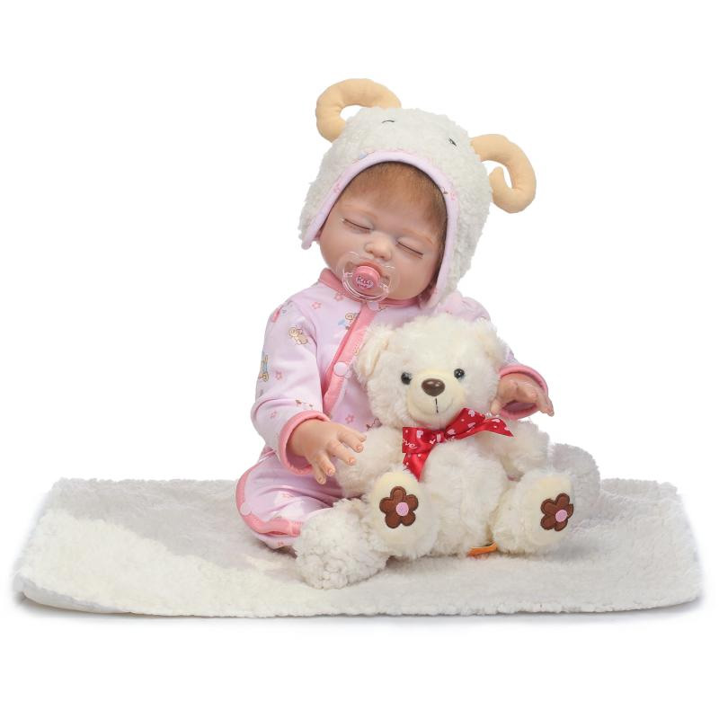 New Arrival 20 Full Silicone Reborn Doll With Plush Bear Toy Silicone Vinyl Handmade Real Doll Reborn Baby Girl Can Enter Water silicone bear