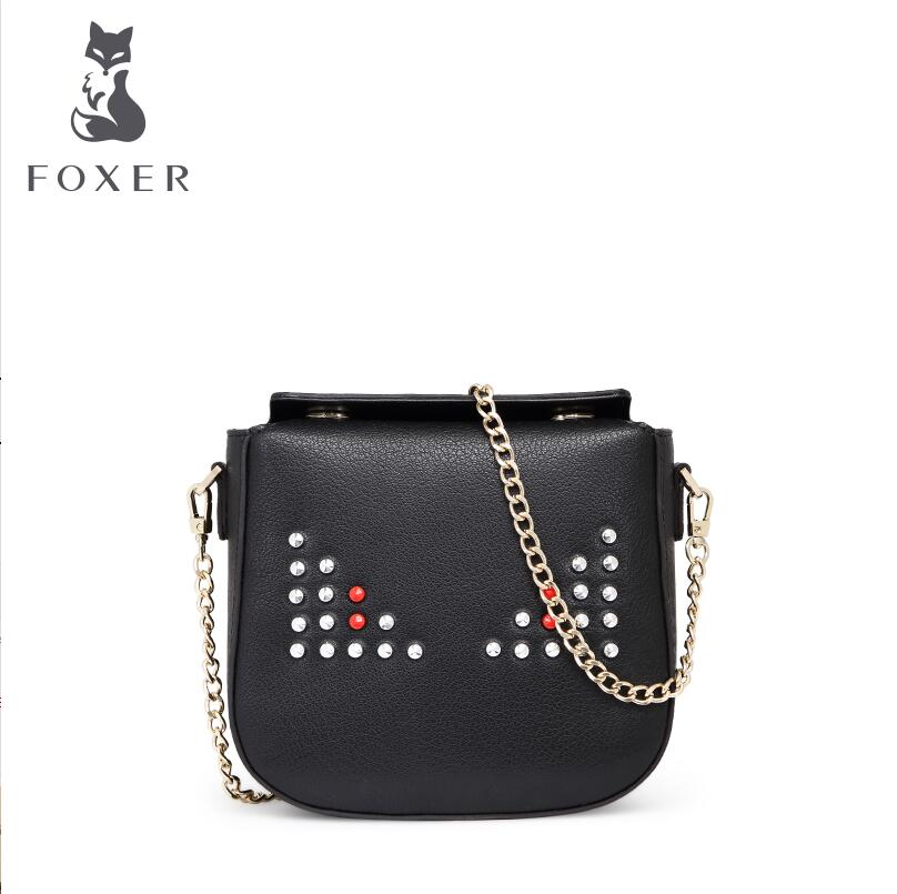 FOXER2016 new high quality luxury fashion little monsters messenger bag leather bag counter genuine well known