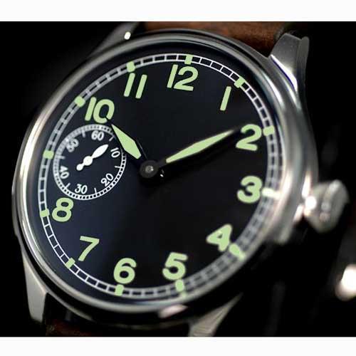 44 мм Парнис черный циферблат 6497 Рука обмотки движение Мужские часы