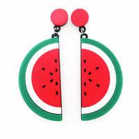 DM Massive Acrylic Fruit Korean Earrings Watermelon For Women Half Moon Geometric femme earing 2018 Fashion jewelry Accessories