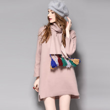 2017 New Arrival Spring Autumn Casual Cotton Blended Loose Dresses With Tassel Scarf Neckerchief Muffler Bust: 110-118cm K040