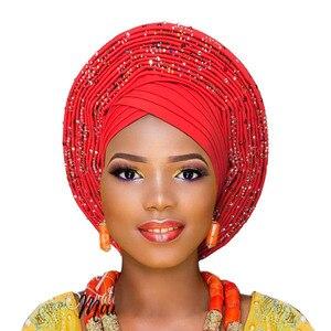 Image 2 - 2018 ใหม่ล่าสุด aso oke tie สีม่วงไนจีเรียแล้ว made สามารถสวมใส่โดยตรง headtie