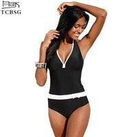 TCBSG 2017 New One Piece Swimsuit Kobiety Stroje Kąpielowe Kobiet Plus Size Rocznika Halter Top Bikini Bathingsuit Monokini Swimsuit