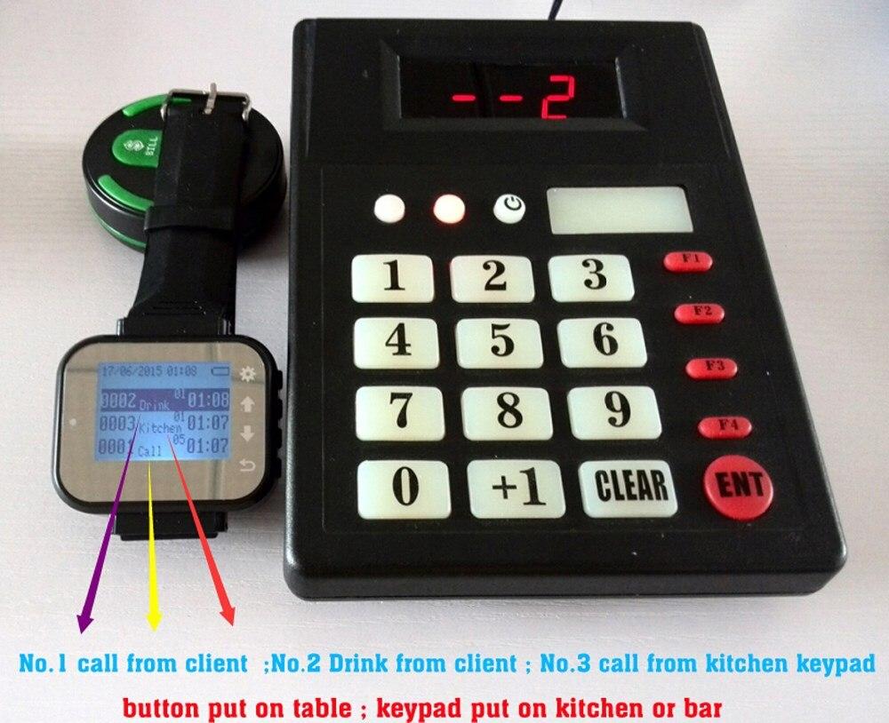 Système de serveur d'appel de cuisine sans fil pour ramasser les aliments avec vibreur pagination avec 1 clavier 1 montre 15 appel cloche avec support de menu - 3