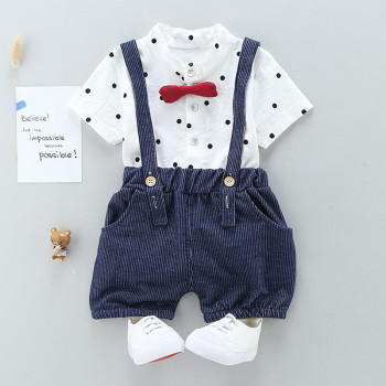 Newborn Bow Style Baby Boys clothing set 2pcs t-shirt + bib pants
