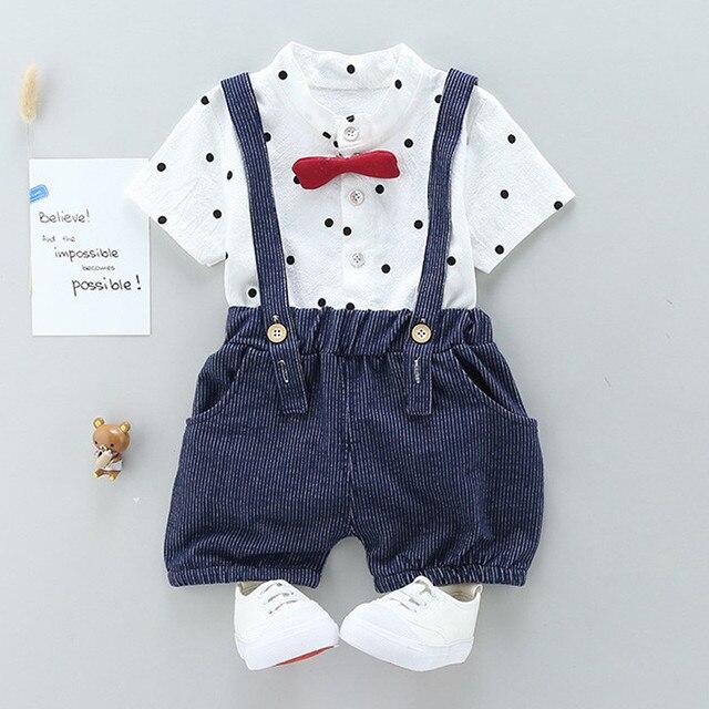 Newborn Bow Style Baby Boys clothing set 2pcs t-shirt + bib pants
