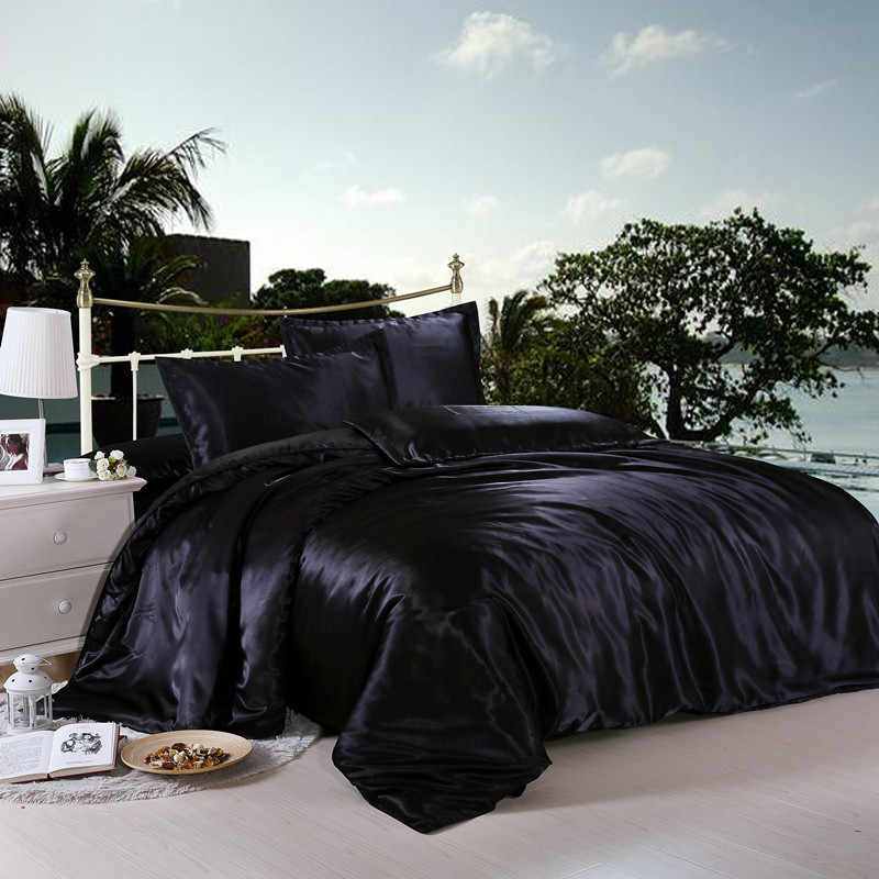 Bonenjoy Black Color Satin Silk Bed Linen Summer Used Quilt Cover Bed Sheet Pillowcase Sets 3/4pcs Satin Jacquard Bed Sheet Set