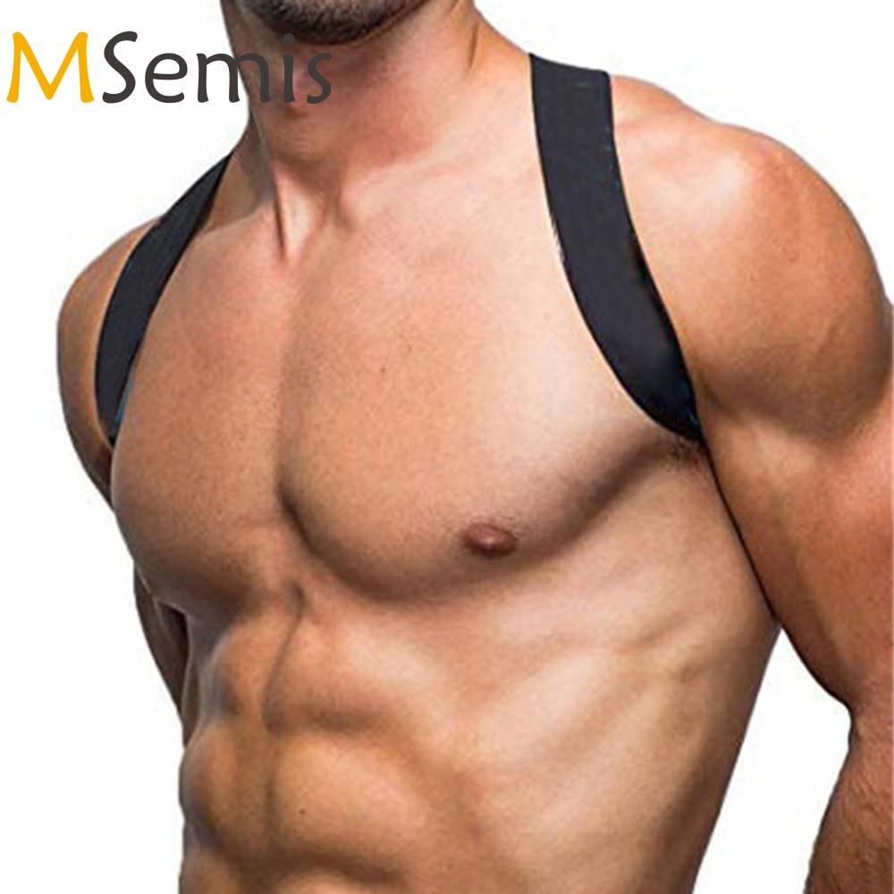 MSemis Men Harness Bondage Nylon X-Shape Back Fetish Gay Bondage Chest Harness Men Wide Shoulder Harness Men Muscle Harness Belt