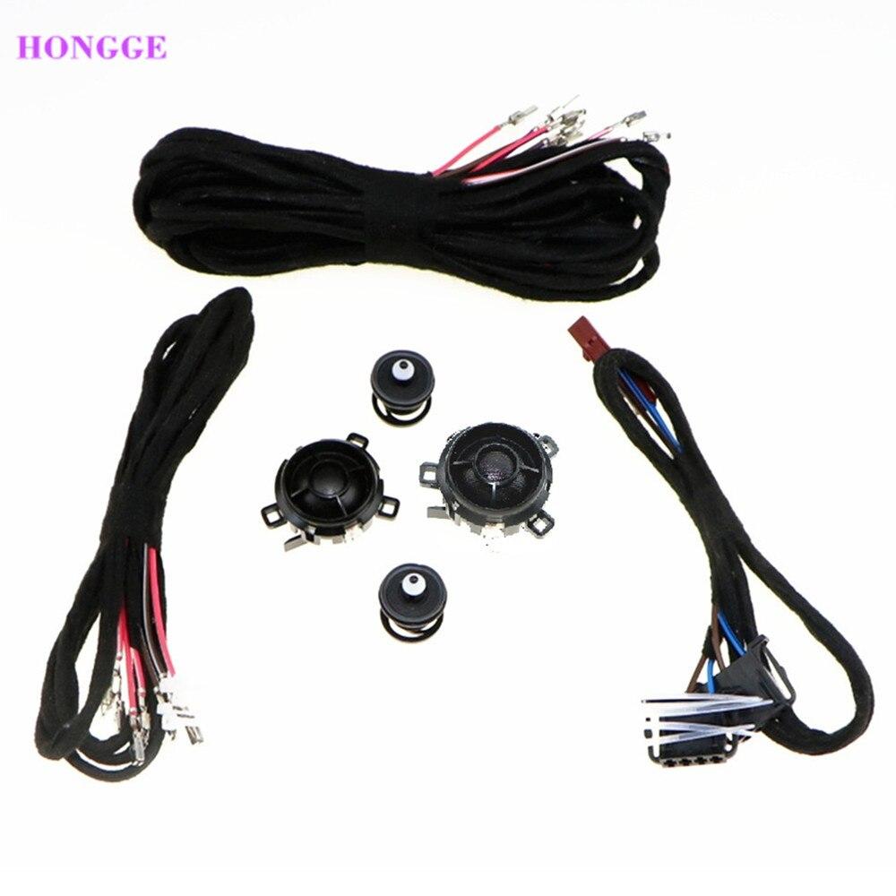 HONGGE haut-parleur de porte arrière Tweeter haut-parleur de voiture et câbles pour VW Golf GTI MK5 MK6 Jetta MK5 Rabbitt Scorocco 5KD 035 411A