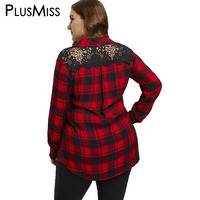 PlusMiss Plus Size 5XL 4XL Casual Back Lace Red Plaid Shirt Women Clothing Long Sleeve Work