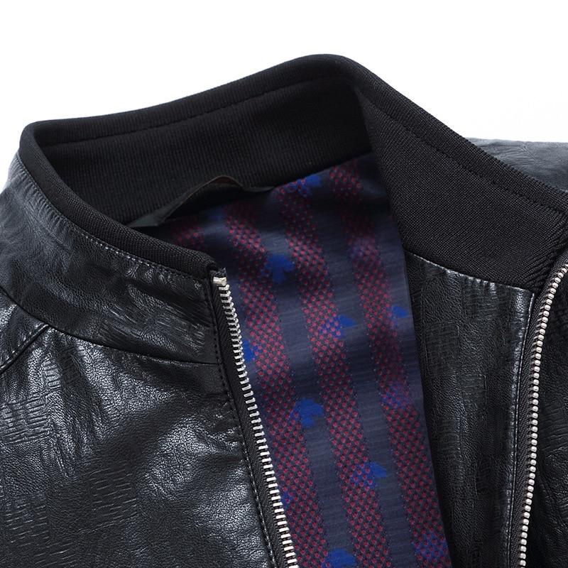 MSAISS 2017 новая весенняя Мужская короткая куртка для отдыха мужская кожаная куртка с воротником Большой размер Черная мужская кожаная куртка - 4