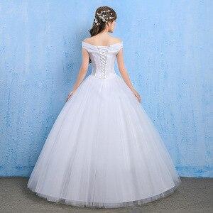 Image 5 - Vestido De Novia Luxury Crystal Wedding Dresses Ball Gown Off Shoulder Lace Up Elegant Cheap Lace Bride Dresses Robe De Mariee