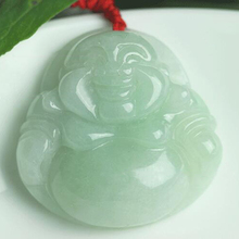 Hand-carved natural Myanmar jade Buddha pendant Laughing Women jewelry gifts