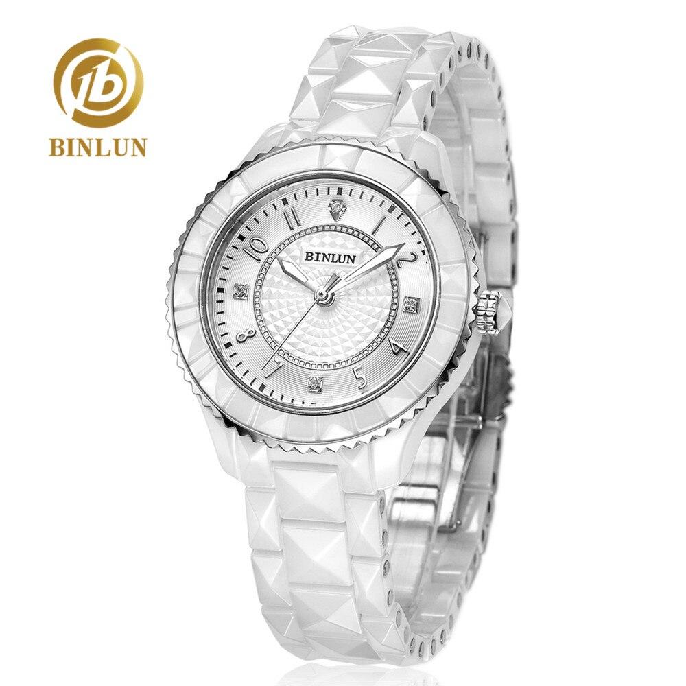 BINLUN montre à Quartz en céramique blanche Pure pour femmes montre élégante à cadran en diamant pour femmes montre étanche en céramique de luxe à l'épreuve des rayures