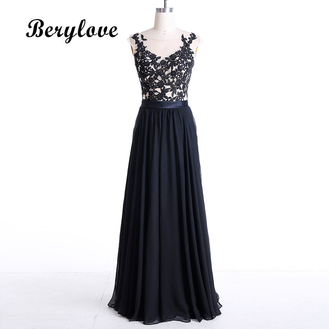 BeryLove Illusion Long Black Lace Evening Dresses 2018 Cap Sleeves ...