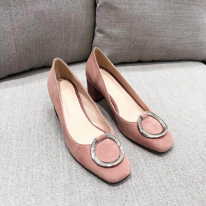 WETKISS หนังแท้ผู้หญิงปั๊มสแควร์ Toe รองเท้าสำนักงานรองเท้าสตรีตื้นรองเท้าส้นสูงรองเท้าผู้หญิงขนาดใหญ่ขนาด 34 43-ใน รองเท้าส้นสูงสตรี จาก รองเท้า บน   3