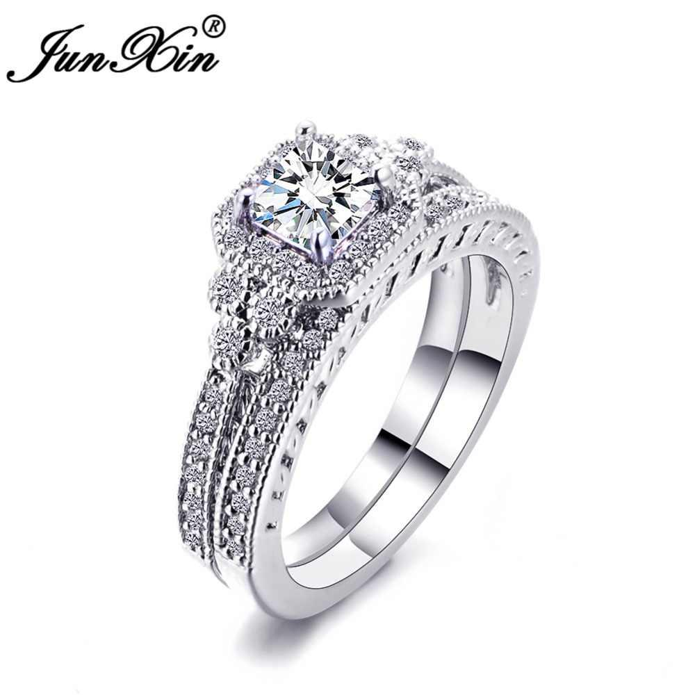 Luxo branco zircon pedra anel conjunto nova moda 925 prata anel de noivado do vintage anéis de casamento para as mulheres conjuntos de noiva