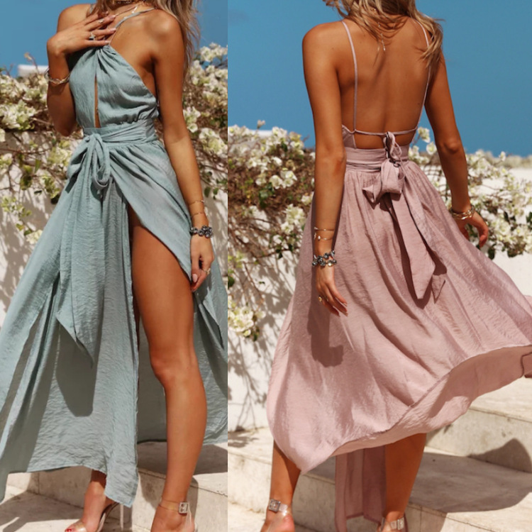 NATTEMAID 2018 Summer Autumn New Pattern Sexy Dresses Long Maxi Vacation Beach Backless Halter Dress Women Pink Split Vestidos 2