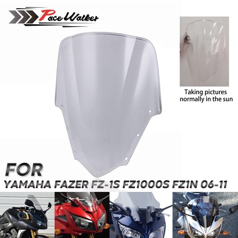 For Yamaha FZ1 Fazer FZ1S FZS1000S Bike Motorcycle Motorbike Windshield/Windscreen Transparent 2006 2011 2007 2008 2009 2010-in Windscreens & Wind Deflectors from Automobiles & Motorcycles
