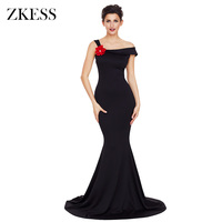 ZKESS החדש לנשים אסימטרית עיצוב כתף בתולת ים שמלת שמלה ללא שרוולים אלגנטי רשמי המפלגה Slim מצויד ארוך שמלות LC61810
