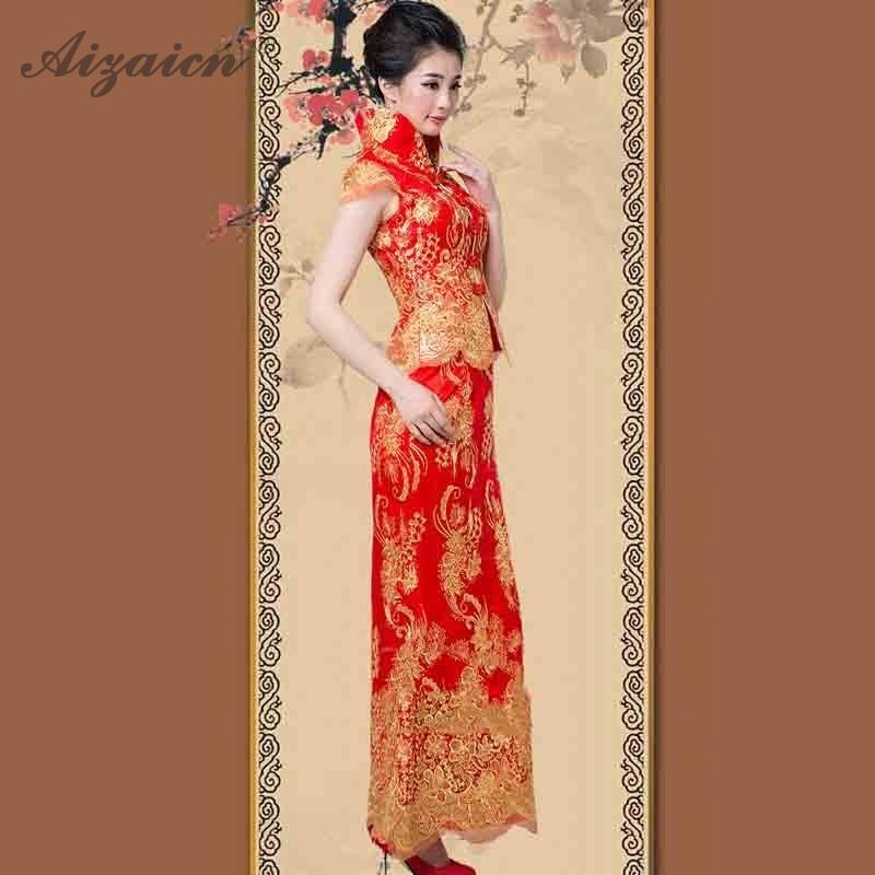 2019 Spring Summer Bride Long Cheongsam Modern Women Chinese Traditional Evening Dress Qipao Orientale Red Slim Mermaid Dresses