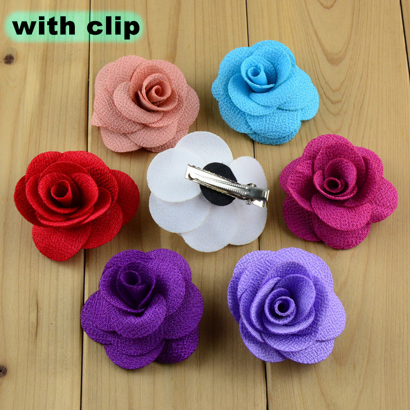 NEW 1.6inch rose flower with clip for hair accessories hairclips ornaments colorful flowers hairpin 10pcs/lot free shipping 2015 new 60pcs lot 20colors fashion handmade felt rose flower diy for hair accessories headband ornaments