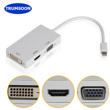 Trumsoon 3 In 1 Thunderbolt Mini Port Display DP Laki-laki Ke HDMI Dvi Vga Female Kabel Adaptor untuk Apple MacBook air Pro iMac(China)