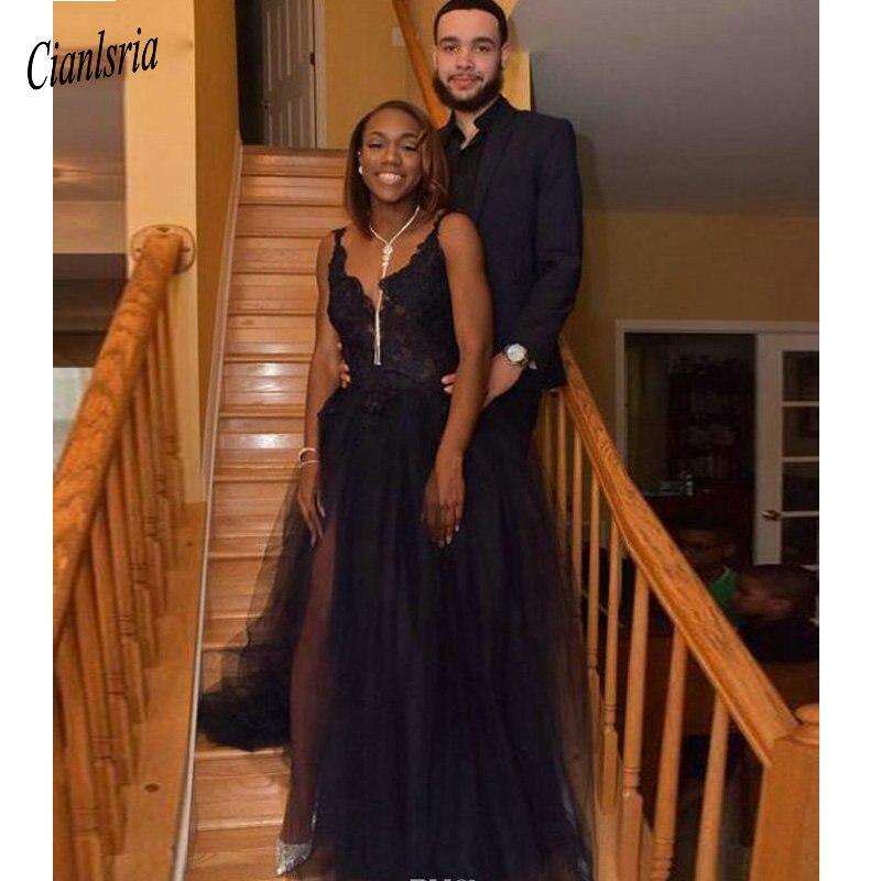 African   Prom     Dresses   2019 Deep V-Neck Lace Appliques A Line Tulle Party Gowns Side Split Formal Evening Wear Vestidos De