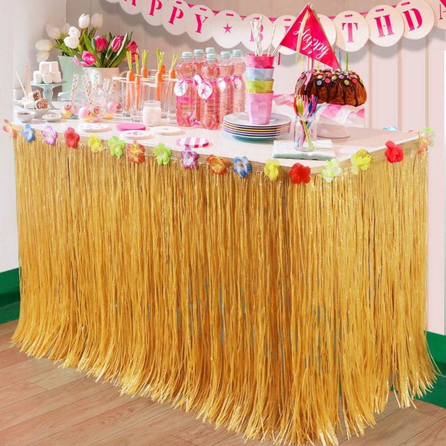 OurWarm Artificial Hibiscus Grass Table Skirt 275*75cm Hawaiian Tropical Luau Party Tableware Decoration Birthday & OurWarm Artificial Hibiscus Grass Table Skirt 275*75cm Hawaiian ...