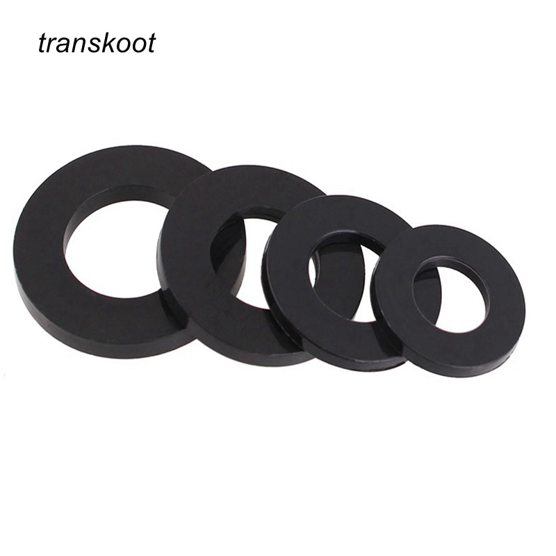 цены 100Pcs DIN125 ISO7089 M2 M2.5 M3 M4 M5 M6 M8 M10 Black Plastic Nylon Washer Plated Flat Spacer Washer Gasket Ring