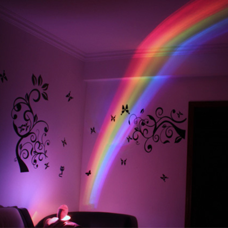 Rainbow Colorful Beautiful Projector Egg 7 Colors Night Light with Mini Atmosphere Lamp for Living Room and Bedroom