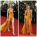 Celebrity Inspired Dresses 2016 new sexy Eva Herzigova orange taffeta dress long section of the Oscar red carpet prom dresses
