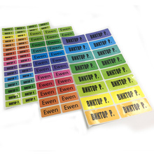 Rainbow Color Name Stickers Personalized Multicolor Tag Labels Waterproof Customize Stationery Water Bottle Pencil Name Sticker