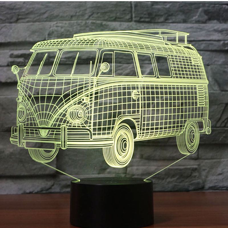 3D LED Night Light Bus Car with 7 Colors Light for Home Decoration Lamp Amazing Visualization Optical Illusion Awesome free shipping 1piece new arrive marvel anti hero deadpool figure light handmade 3d bulbing illusion lamp led mood light for kid