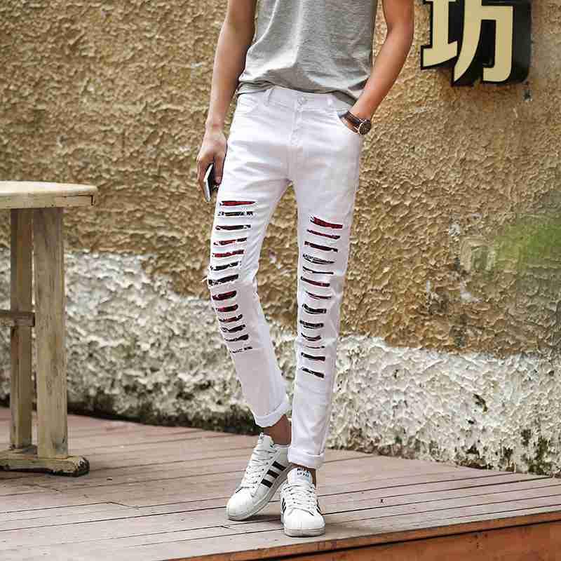 #1502 White/Black jeans men Ripped jeans for men Fashion Skinny jeans men Biker jeans White Distressed Mens designer clothes