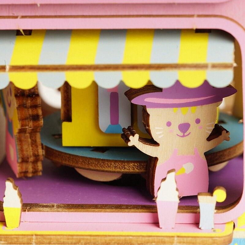 Robotime bricolage 3D saveur mobile en bois Puzzle jeu assemblage mobile boîte à musique jouet cadeau pour enfants enfants adulte AMD61 - 5