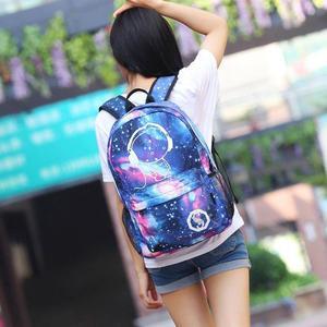 Image 5 - Mochilas escolares para niños mochila para chicas adolescentes con estampado de estrellas espaciales, mochilas escolares para niños, candado antirrobo con cargador USB
