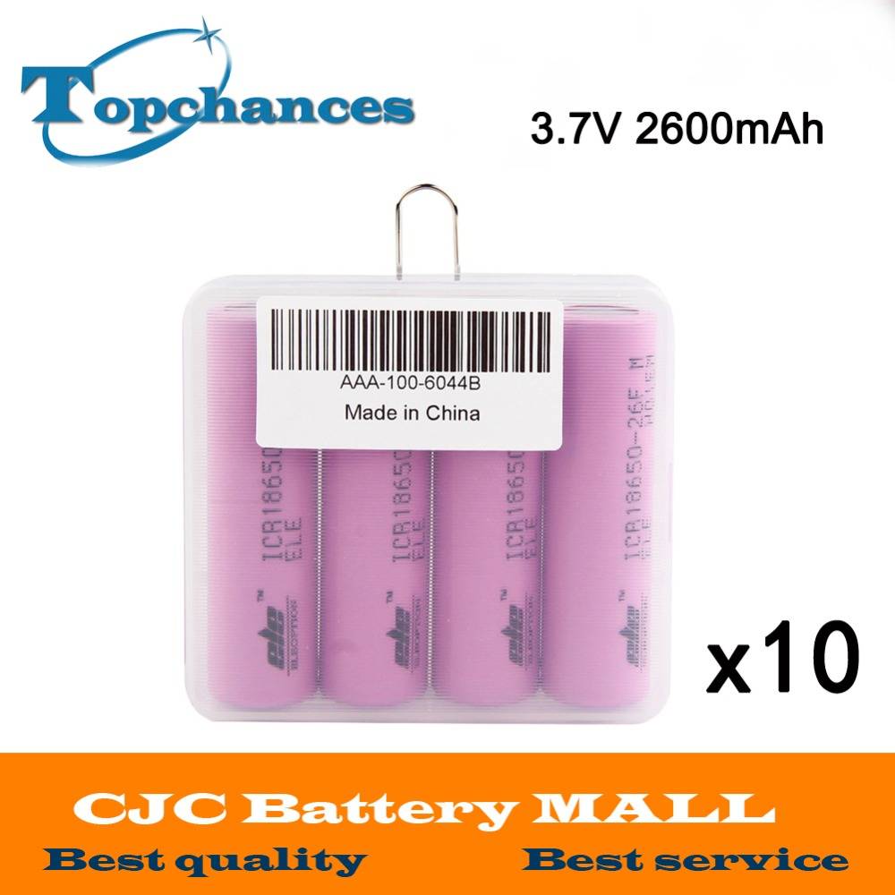 10X 4pcs/lot High Quality 3.7V 2600mAh Li-ion 18650 rechargeable li-ion Battery ICR18650-26F 2600mAh batteries Baterias with box стоимость