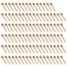 100 Pack Of Mini 3 Inch Wood Honey Dipper Sticks, Individually Wrapped, Server For Jar Dispense Drizzle Honey, Wedding P